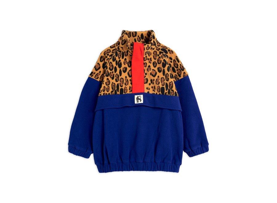 Fleece zip pullover leopard