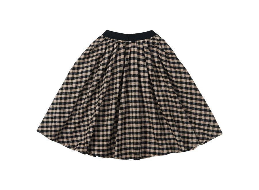 Flannel Checked Midi Skirt Black