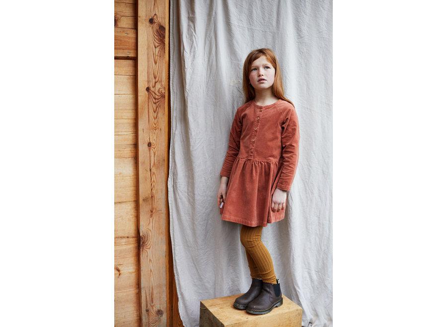 Corduroy Button Light Terracotta Dress