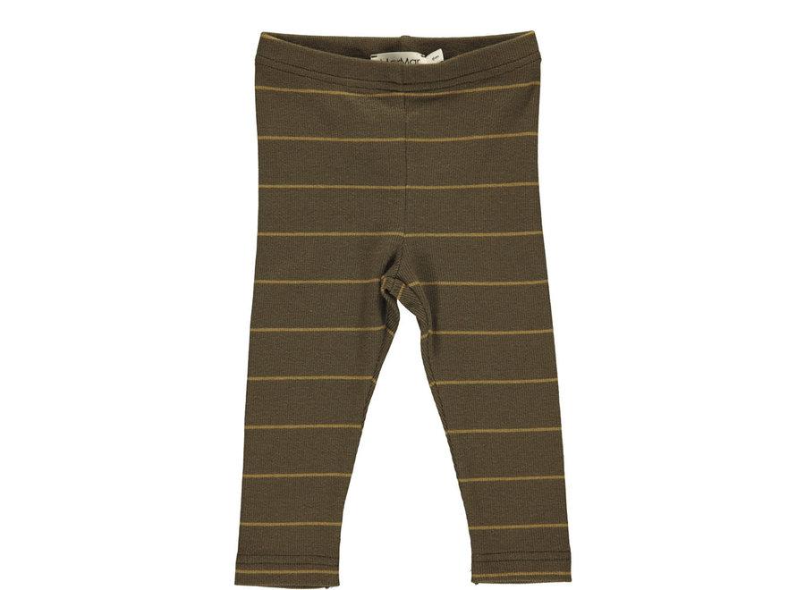 Leg Modal Fine Rib Golden Olive Stripe