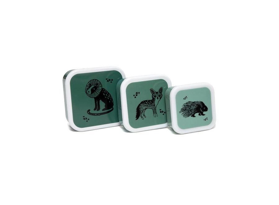 Lunchbox set black animals salie