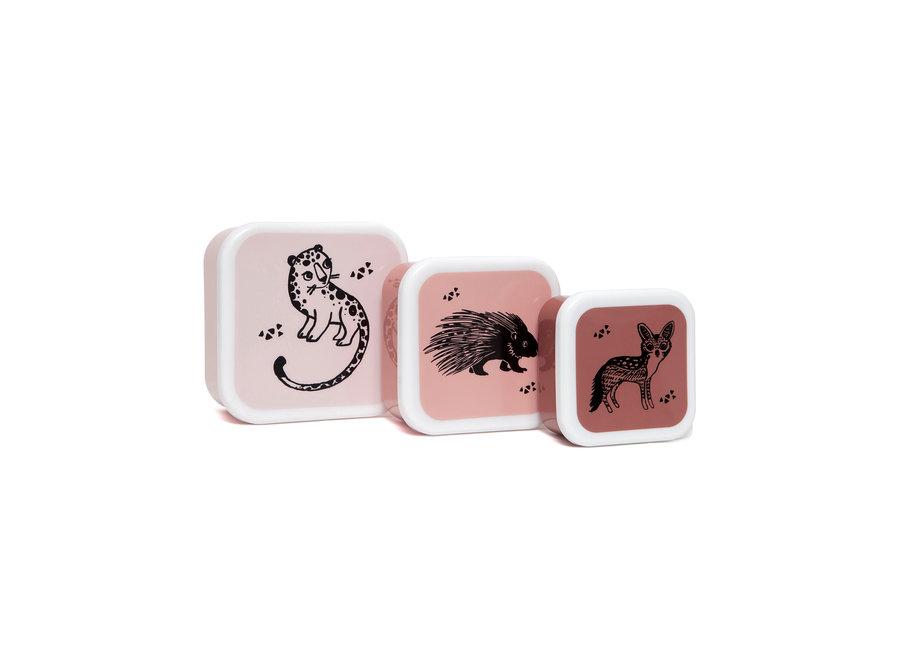 Lunchbox set black animals pink