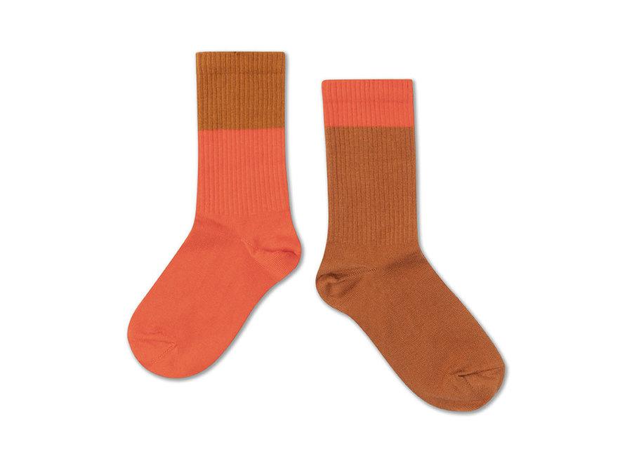Socks vibrant red autumn block