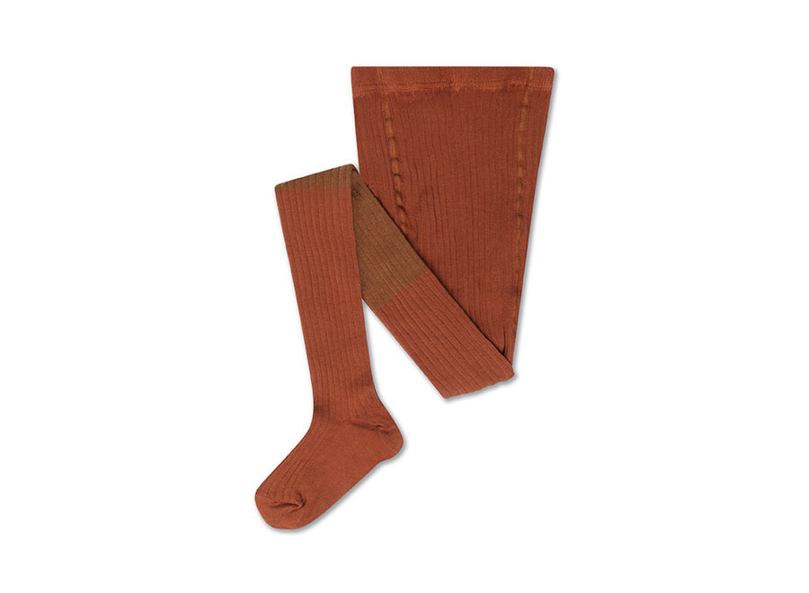 Tights autumn brown color block