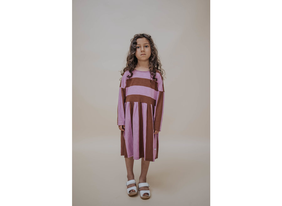 Easy dress orchid block stripe