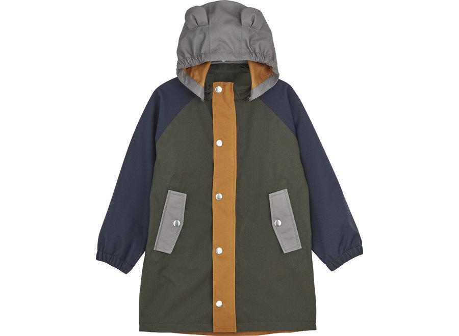 Blake long raincoat Hunter green multi mix