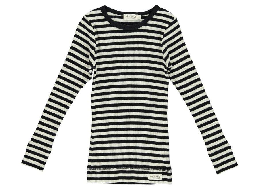 Tee LS Modal Stripes Black/Off White