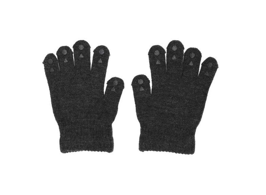 Wool Grip Gloves Dark Grey Melange