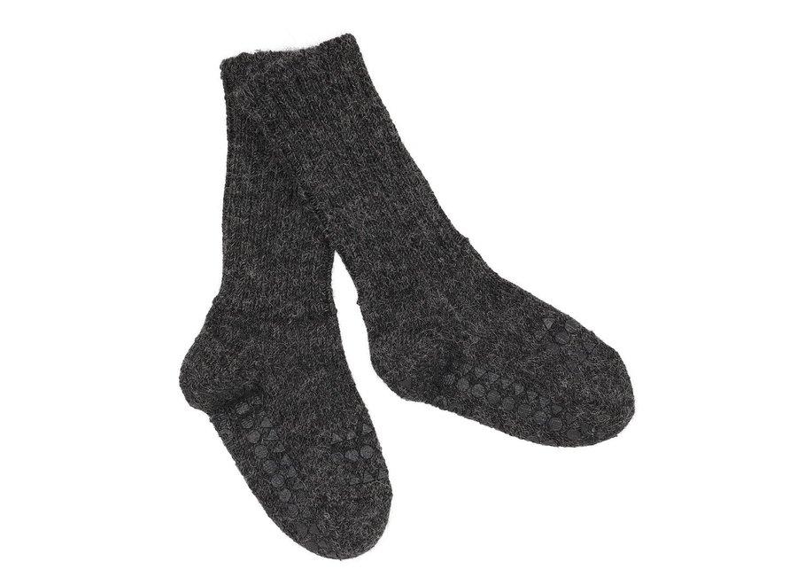 Alpaca Non Slip Socks Dark Grey Melange