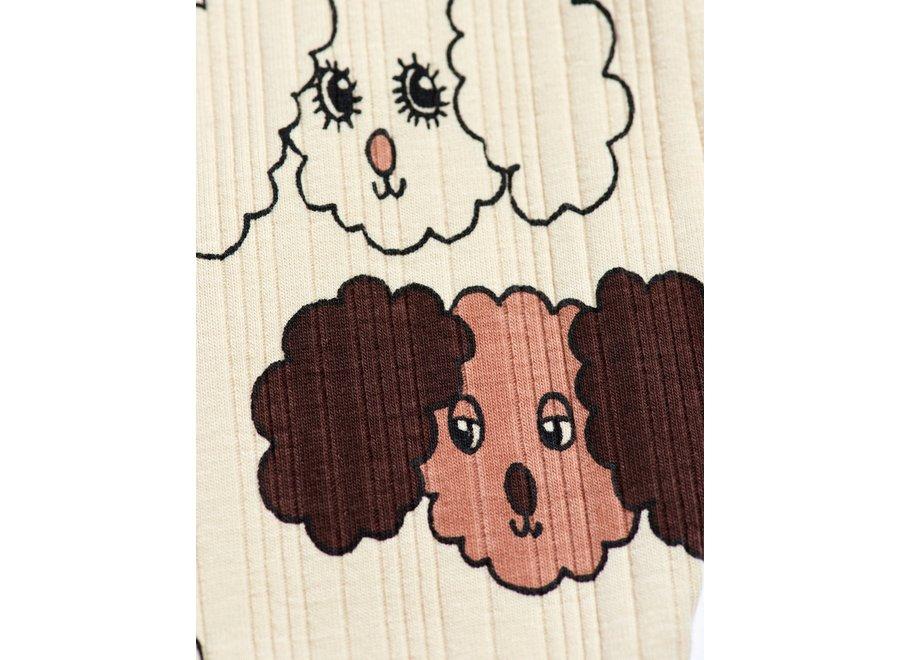 Fluffy dog aop leggings