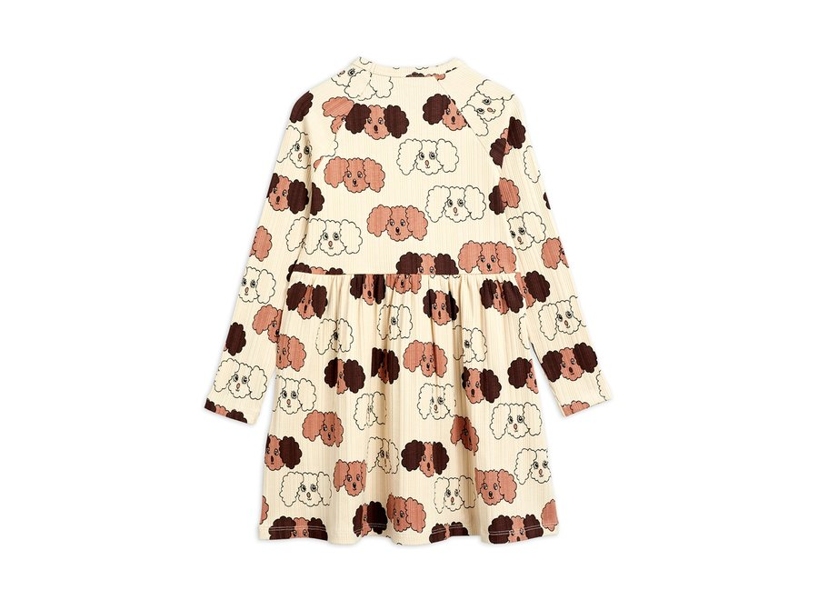 Fluffy dog aop ls dress