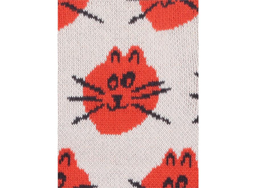 Cat Jacquard fun knitted sock