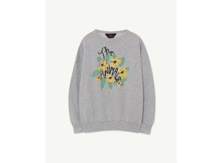 Bear Kids Sweatshirt Grey Flowers