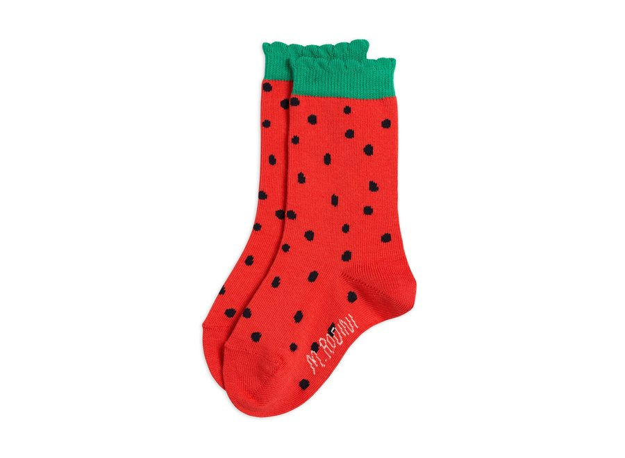 Strawberry Scallop Socks Red