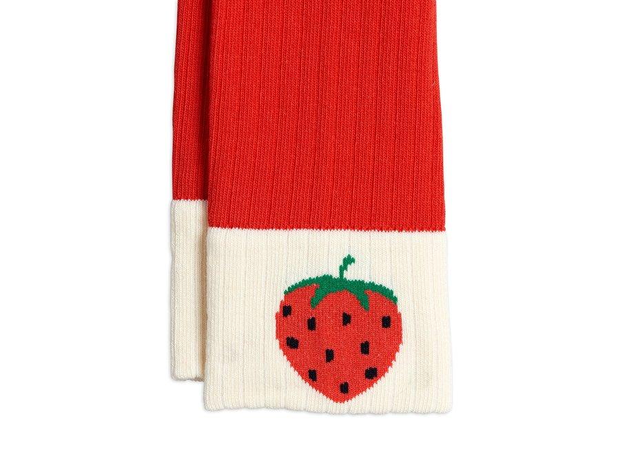 Ribbed Strawberry Leggings Red