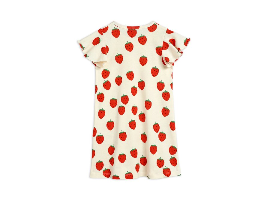 Strawberry aop Wing Dress Off White