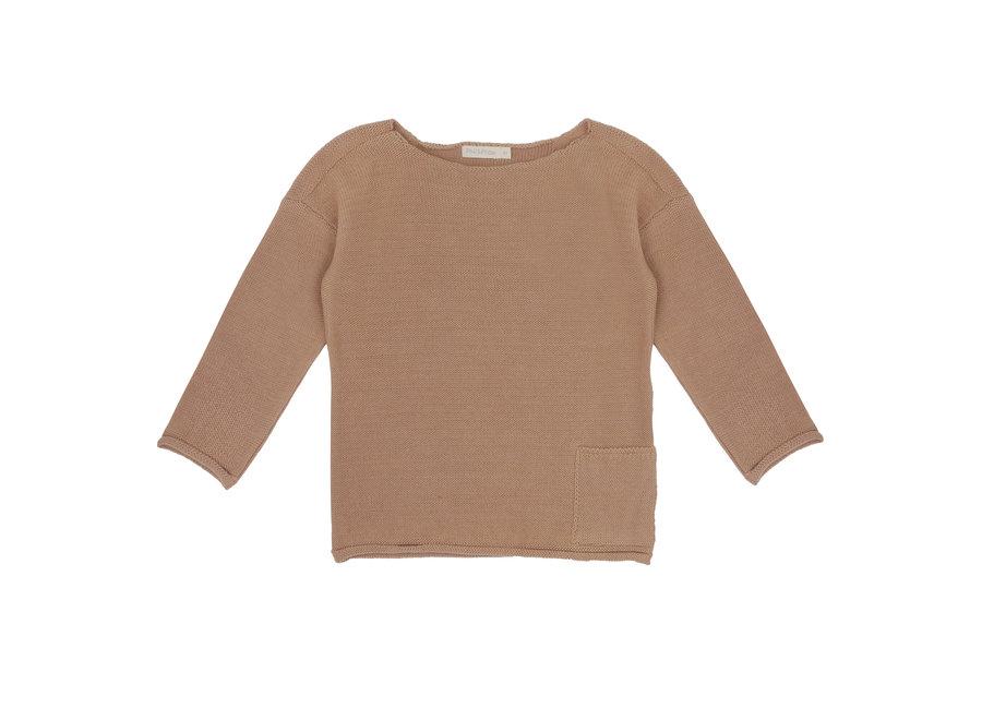 Drop shoulder knit sweater Dusty nude
