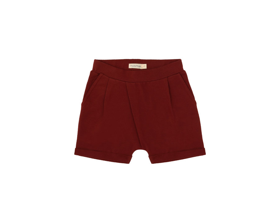 Fold-over shorts deepest brick