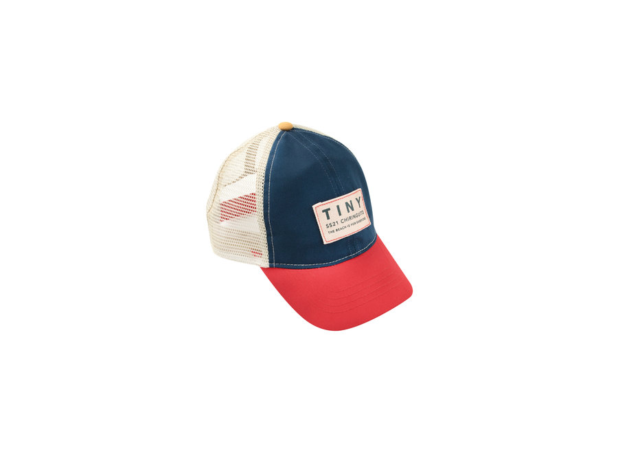 Colour Block Tiny Cap Ink Blue/Red