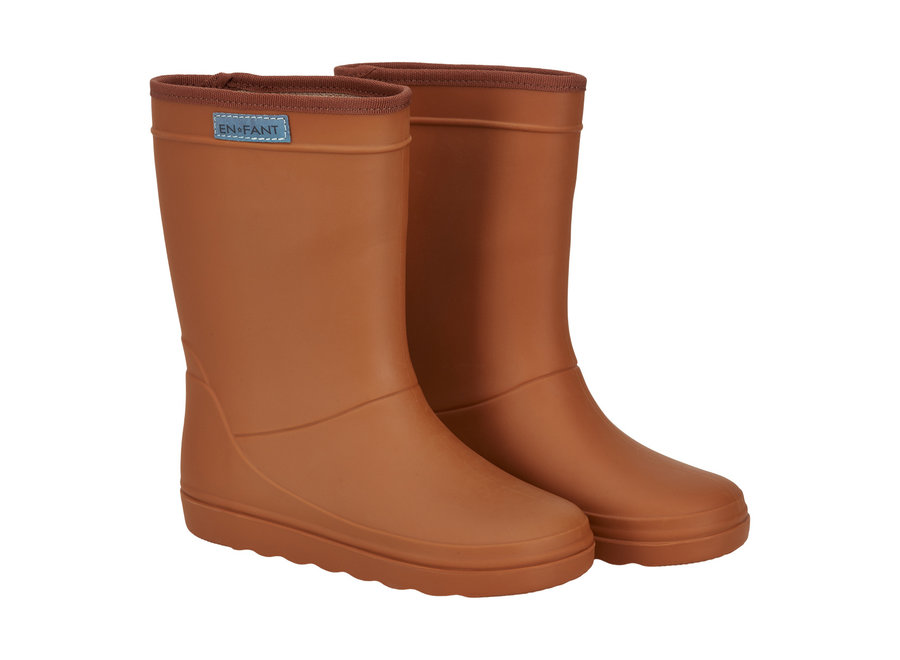 Rubber Rain Boot Leather Brown