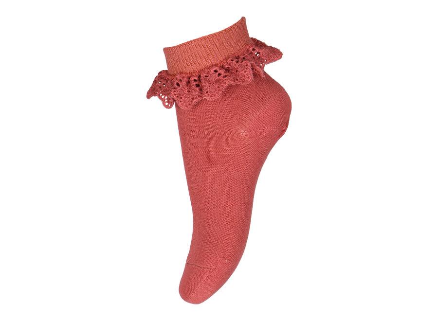 Filippa socks with lace 4270 marsala