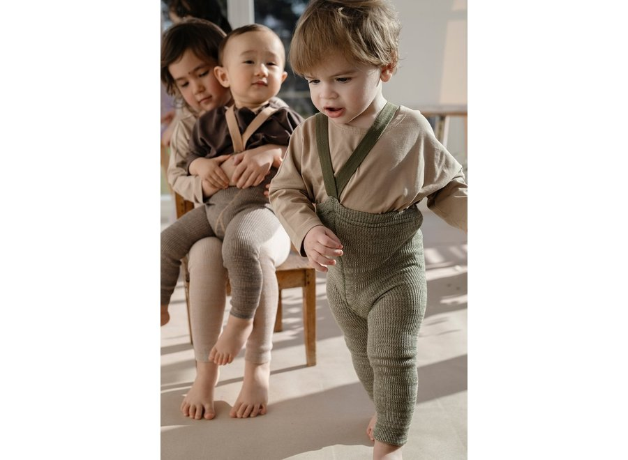 Footless Cotton Tights Creamy Olive