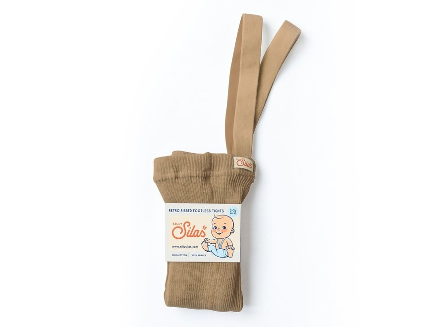 Footless Cotton Tights Light Brown
