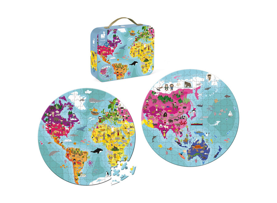 Puzzel De Wereld dubbelzijdig