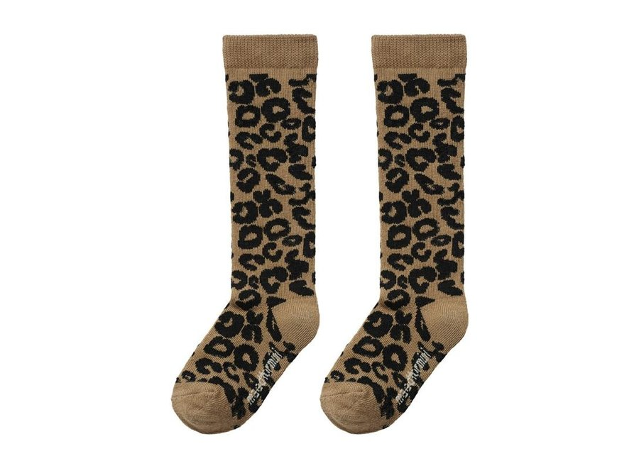Brown Leopard AOP Knee Socks