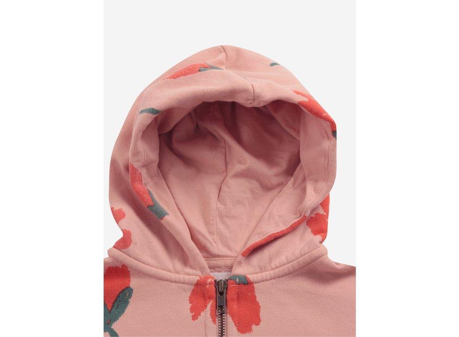 Big Flowers all over zipped hoodie KID