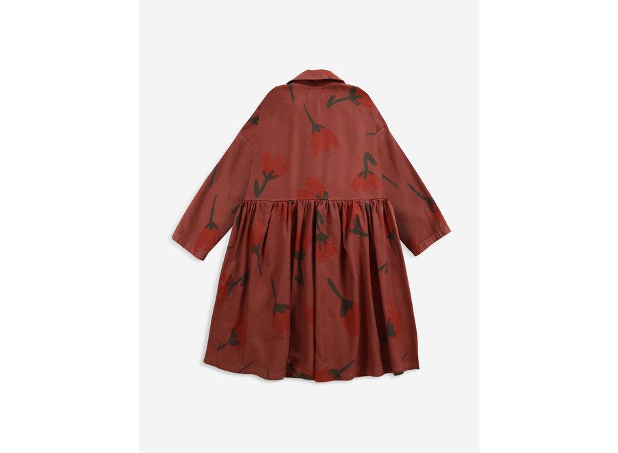 Big Flowers woven buttoned dress