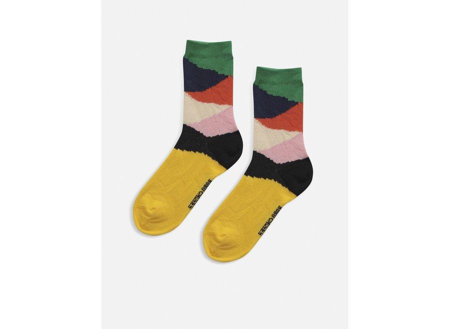 Multi colorblock short socks