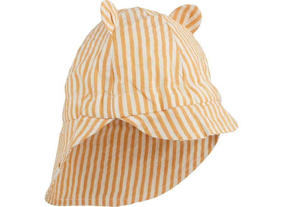 Gorm Sun Hat Mustard/White stripe