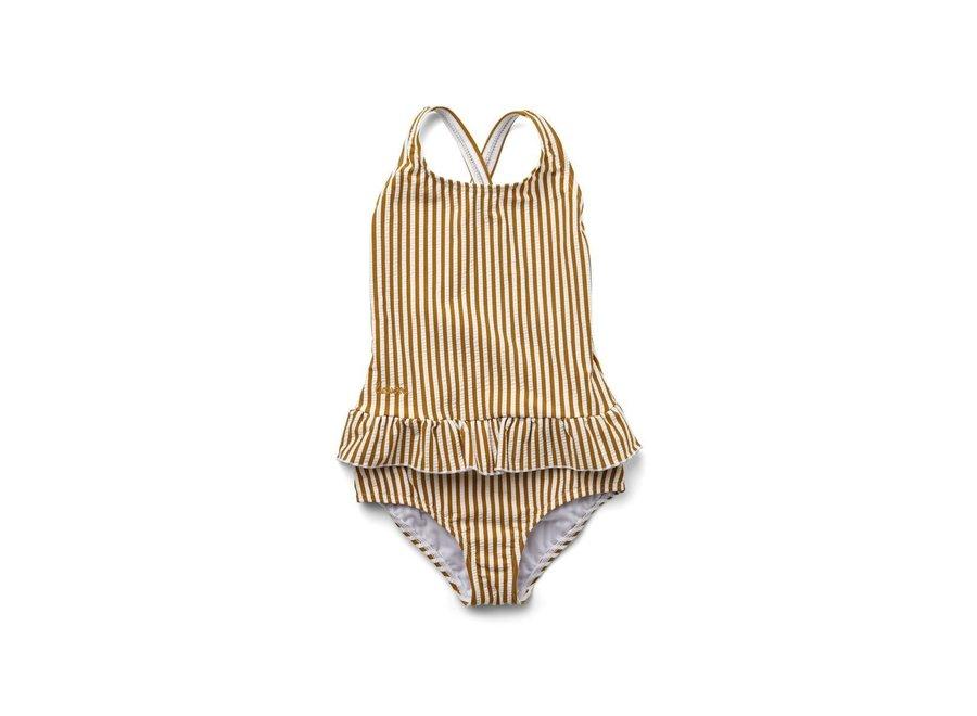 Amara Swimsuit Seersucker Mustard/White