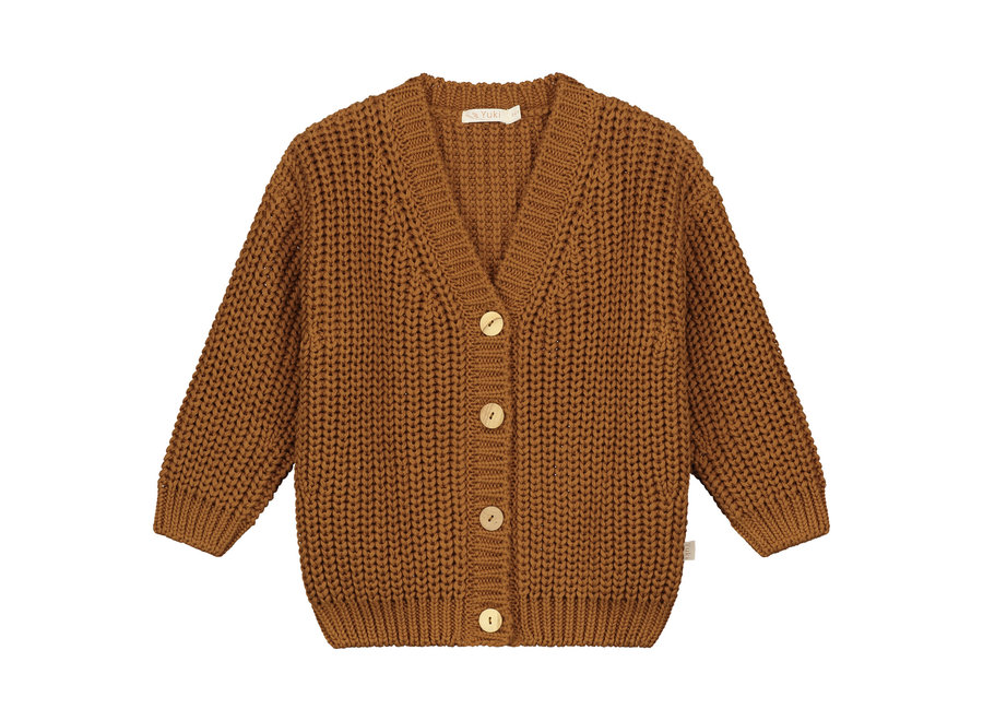 Chunky knitted cardigan Rust