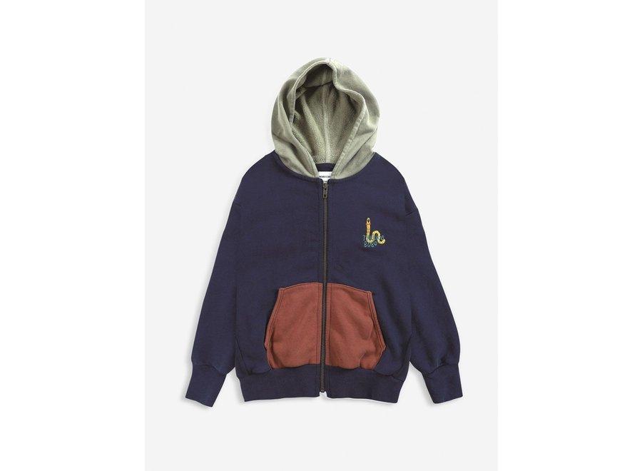 Scholar Worm zipped hoodie KID