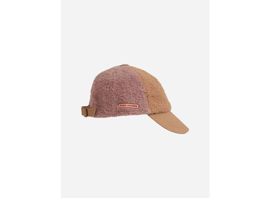 Color Block sheepskin cap