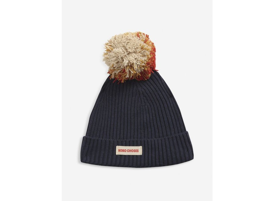 Multicolor Pompom knitted beanie