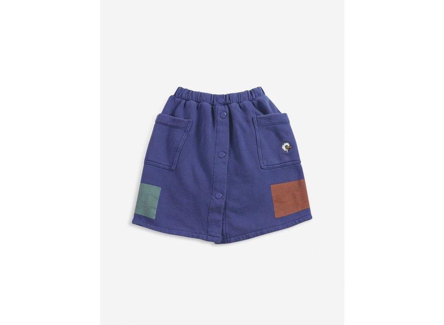 Geometric fleece buttoned skirt