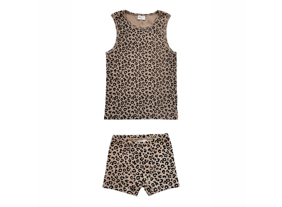 Brown leopard boxer set