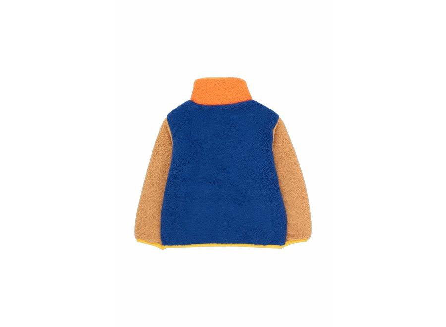 Color block polar jacket ultra marine/clay KID