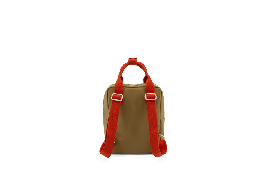 Small backpack Gingham pool green + apple red + leaf green