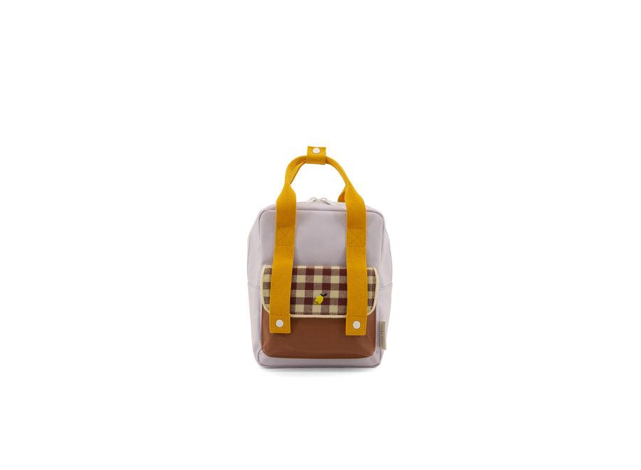 Small backpack gingham chocolate sundae + daisy yellow + mauve lilac