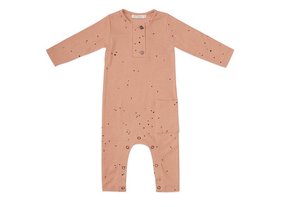 Rib henley jumpsuit l/s dots warming peach
