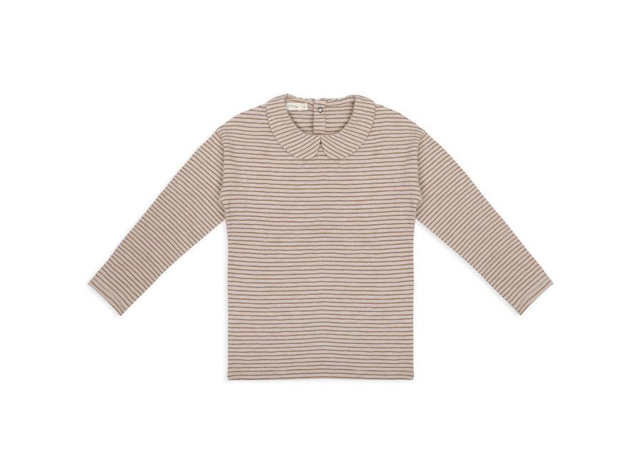 Collar tee l/s stripes chestnut