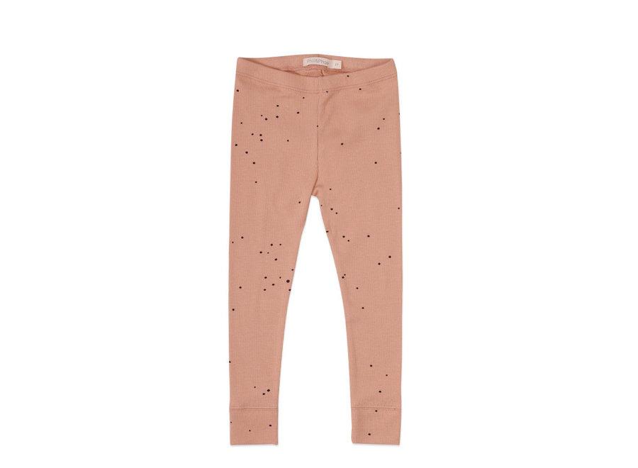 Rib leggings dots Warming peach