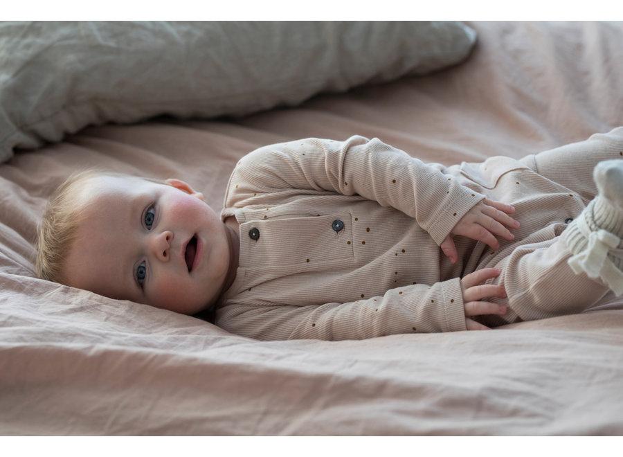 Rib henley jumpsuit l/s dots warm cream