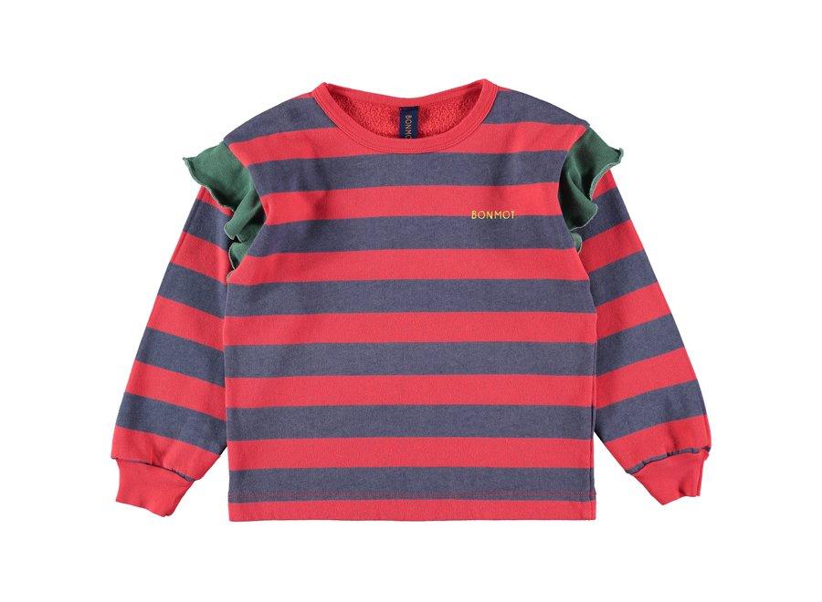 Sweatshirt frilles stripes Red