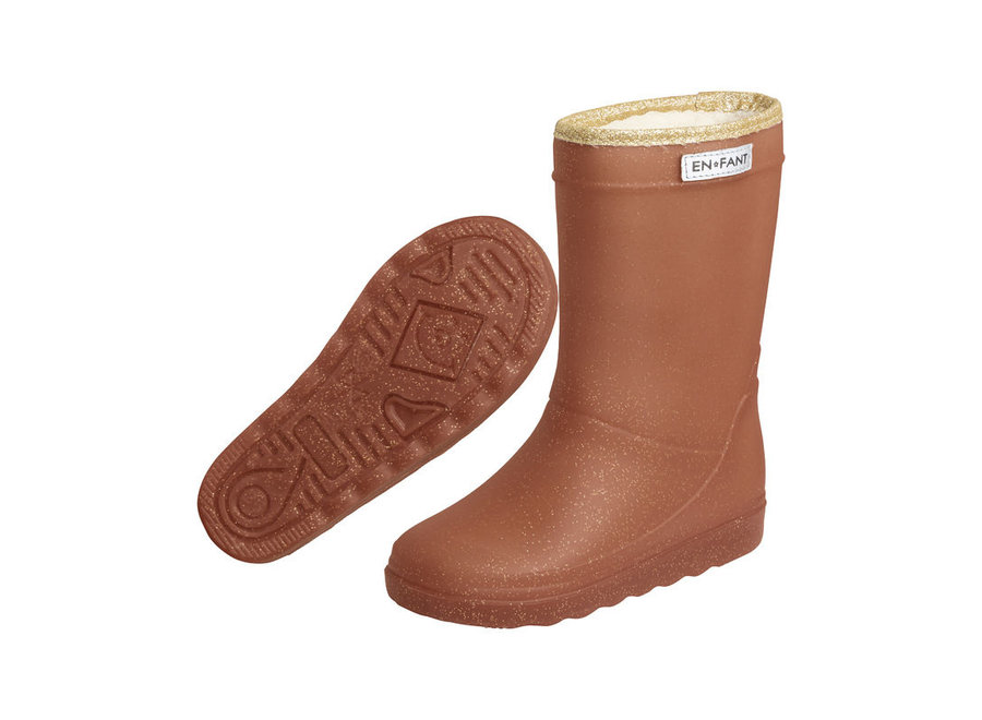 Enfant Thermoboots Leather Brown glitter WINTER