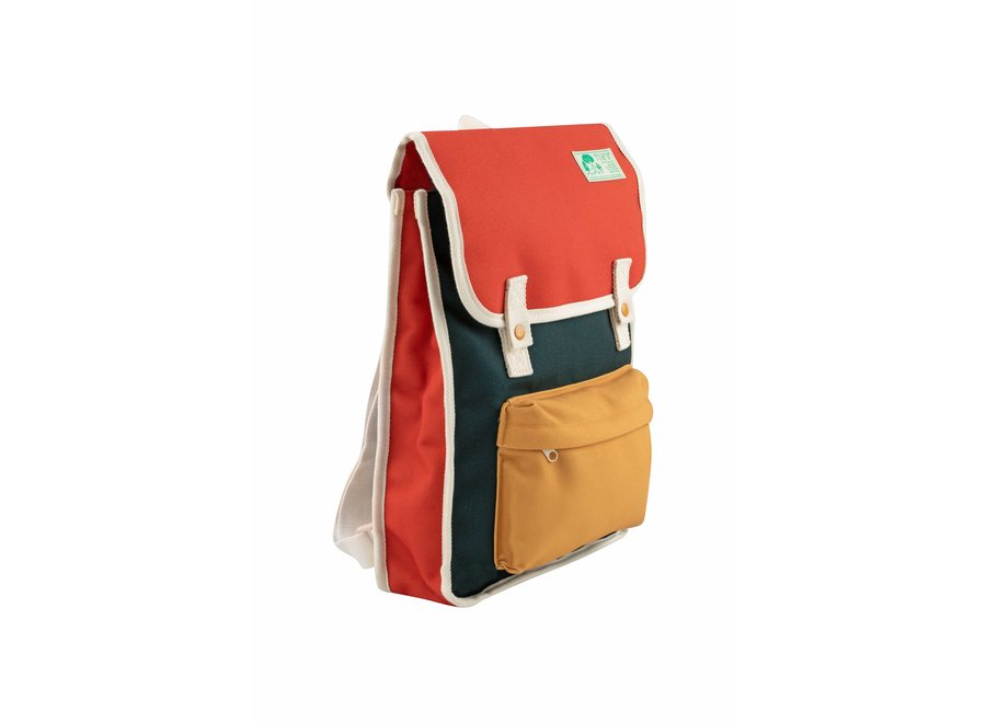 Color block kid backpack ink blue/red